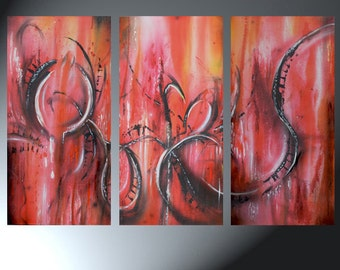 Abstract Three Canvas Painting Original Abstract Art On Canvas Original Artwork Total Size 24 x 36 Heart Art