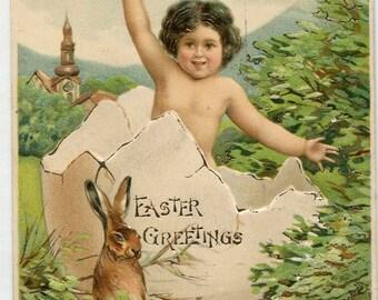 Easter postcard, Vintage PostCard, antique postcard, vintage Easter, Easter Child jumping from big egg, brown Easter bunny rabbit, undivided