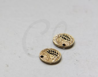 2pcs Antique Brass Charms - Tag - Round 11mm (1348C-M-434)