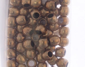 100 Pieces Antique Brass Tone Base Metal Spacer - Rice 5x4.2x2.7mm (111301)