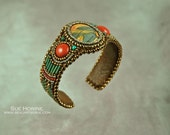 Bead Embroidered Cuff Bracelet,Red Creek Jasper with Red Jasper, one-of-a-kind, red, teal, turquoise