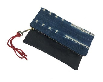 Indigo & Leather Foldover Clutch | BLACK