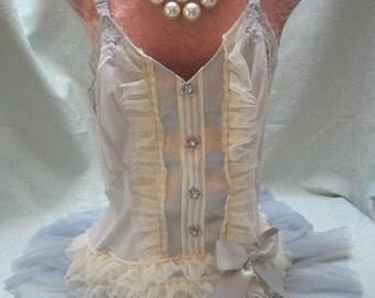 MidWinter Sale 20% Off TUNIC Top Tank Cami Romantic Fairylike Boho Feminine - Vintage Cami Make Over - Gray and Ivory