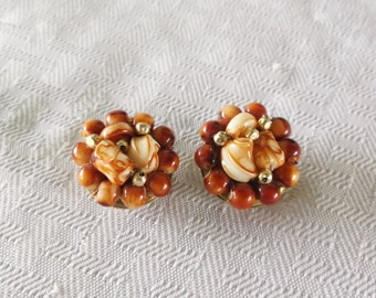 50s 60s Vintage Rust Color and Cream Swirl Cluster Earrings Hong Kong Clip On Style