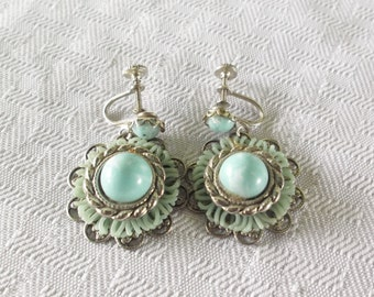 1960s Vintage Faux Turquoise South Western Dangle Earrings Screw Back Style