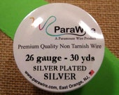 Silver Plated Silver 26 Gauge Round Wire from ParaWire - 30 Yard Spool