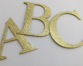 "4"" Large Gold Glitter Chipboard Alphabet Letters -  4"" inch Letters - MONOGRAMS -  Color Selection"