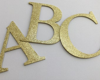"4"" Large Gold Glitter Chipboard Alphabet Letters -  4"" inch Letters - Banner Size - Full Color Selection"