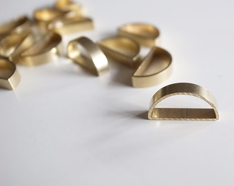 12 pieces of newly made cut raw brass tube outline charm in shape half circle moon 12x6x2.5mm