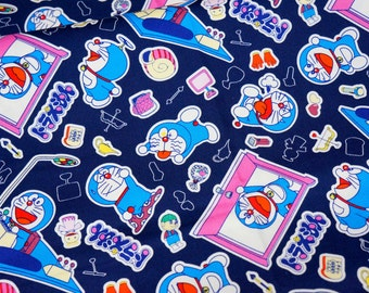 Doraemon fabric  50 cm by 53  cm or 19.6 by 21  inches