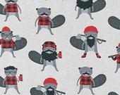 Fat Quarter -Burly Beavers Lumberjack Bevers on Blue Robert Kaufman Fabric AHE-15992-185 Steel
