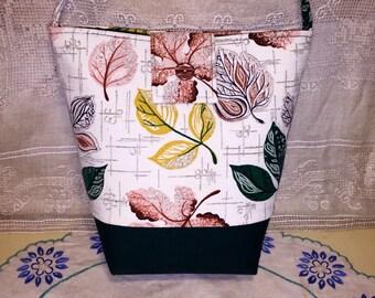 Vintage Mid Century Barkcloth Fabric Purse Handbag Green Pink Yellow Leaves Abstract Modern Ginas Creations Original