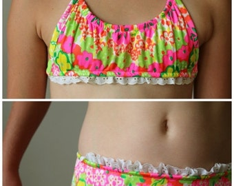 ON SALE NOS, 1970s Tropical Ruffle Bikini >>> Size 10/12 Girls