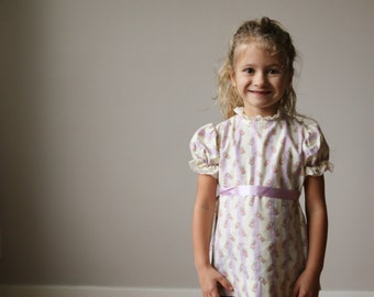 1960s Lilac Dot & Bouquet Dress~Size 2t or 3t