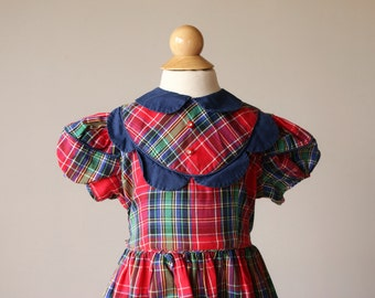 1950s Petal Plaid Dress~Size 2t