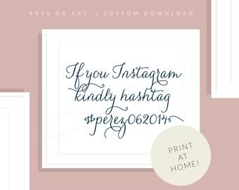 Navy Wedding Printable Instagram Sign   Downloadable Hashtag Sign   Social Media Printable Sign   Printable Reception   Jessica Collection