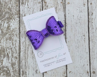 Purple Sequin Bow Tie Hair Clip - Sequin Bow Clippie - Sequin Hair Bow - Cute for Back to School - Girls Bow Clip with Non Slip Grip