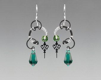 Aphrodite II v7: Emerald Swarovski crystal steampunk earrings