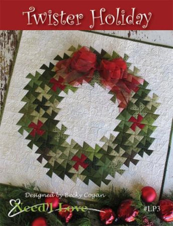 Pattern twister christmas holiday wreath pinwheel quilt