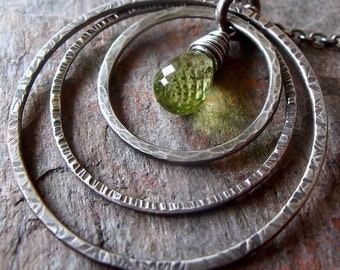 Peridot Sterling Silver Three Textured Rings Necklace - August Birthstone Pendant Jewelry
