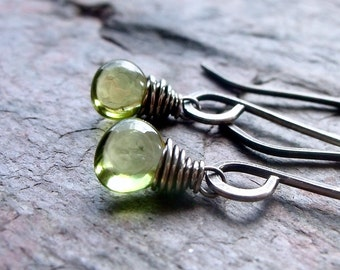 Peridot Sterling Silver Earrings - Smooth Peridot Briolettes on Handmade Sterling Silver Earwires - August Birthstone Jewelry