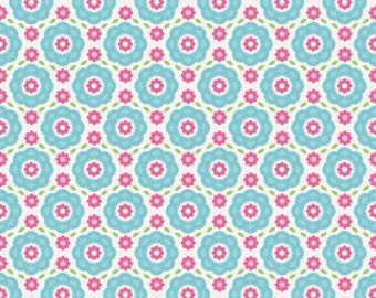 SALE ~ Summer Song 2 ~ Blue floral with pink ~ Zoe Pearn for Riley Blake Designs ~ woven cotton by the yard