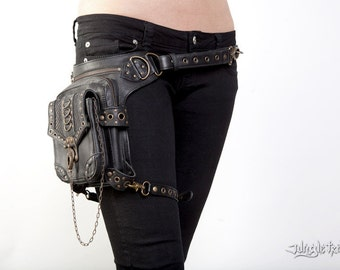 Blaster 3.0 Black Leather Hip Bag by Jungle Tribe