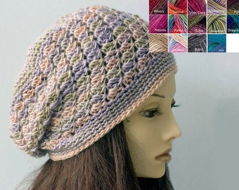 Pastel Slouchy Beanie,  Vegan Womens Beret,  Boho Chic Lace Hat,  Multicolor Hat, Custom Slouchy Hat