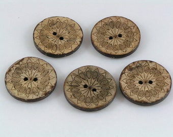 Coconut shell buttons carved shell design buttons 28mm pack of 5 coco shell round button