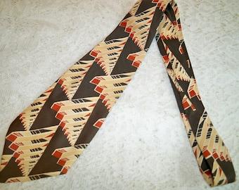 Vintage 1940s Mens MCM Abstract Architectural Design Necktie Swing Era Mid Century Modern Tie WWII Era
