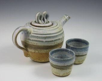 Matt Blue Gray Tan White Brown Side Handle Teapot With 2 Tea Cups