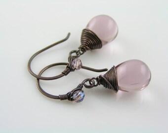 Purple Earrings, Soft Purple Czech Glass Teardrop Earrings, Wire Wrapped Earrings, Handmade Artisan Earrings, Copper Jewelry