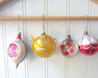 4 Shabby Vintage glass Christmas ornaments baubles Teapot ornament German Polish gold pink blue and silver mercury glass Holiday C11