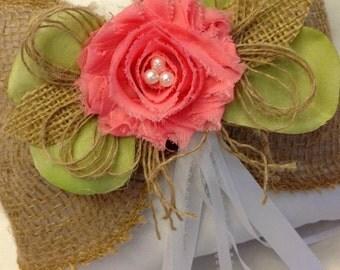 Rustic Ring Bearer Pillow - Rustic Wedding - Burlap Ring Pillow - Coral Ring Pillow - Wedding Ringbearer Pillow - Coral Wedding
