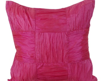 Pink Pillow Cases 16x16 Couch Pillows Crushed Silk Textured Pillow Cover - Dreamy Pink