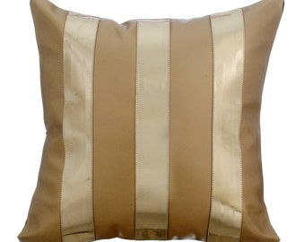 Decorative Throw Pillow Covers Accent Pillow Couch Sofa Toss Pillow Case 16x16 Metallic Gold & Beige Faux Leather Pillow Alternating Beige