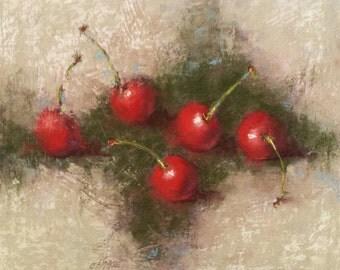 "Small Original Pastel Painting, Still Life, Cherries, 8 x 10"", Unframed, Wall Art"