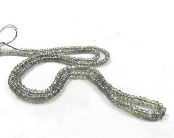 25% Off SALE AAA Rare Platinum Grey Sapphire Rondelle Beads, 16  Inches , 2mm 3mm Natural Sapphire Beads