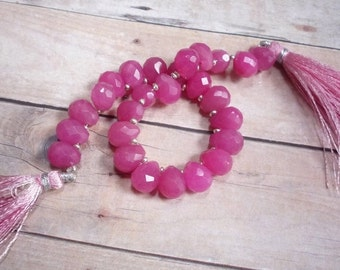 25% Off SALE Deep Rose Pink Chalcedony Briolette Beads,  Fat Bulb , 8mm x 10mm Briolettes, QTY26
