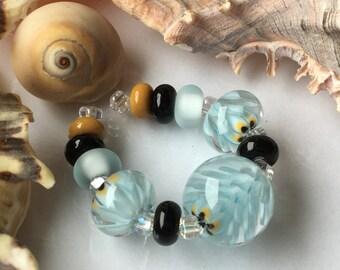 Handmade Lampwork Glass Beads SRA Sandsong Blooms Encasement Florals (11)