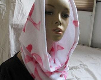 SALE - Breast Cancer Ribbon Fleece Hooded Cowl (5470)