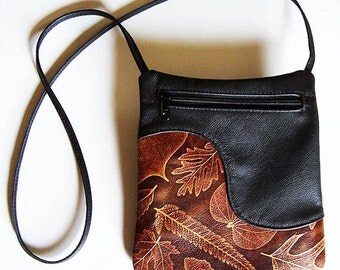 Black Leather Purse with Brown Leaf Accent - Cross Body Style Handbag - Festival Bag