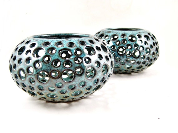 Handmade pottery vase, candle holder, home decor, lace vase - In stock