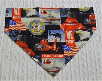 Dog Bandana for U.S. Coast Guard Custom Sizes M to XL in over the collar style