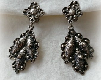 800 Silver Etruscan Style Drop Earrings, Eastern Mediterranean clip on vintage 1960s