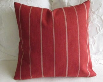 Rustic Woven persimmon red in cream stripes pillow 18x18 20x20 22x22 insert included