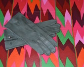 Vintage Italian Leather Luncheon Gloves, Gray, Grandoe