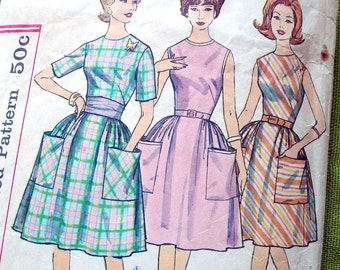 1960s Vintage Sewing Pattern - DRESS - Patch Pockets - Simplicity 4336 / UNCUT FF / Size 16
