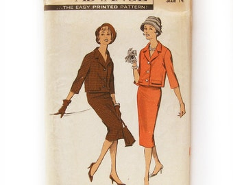 1950 Suit Pattern Box Jacket with Three-quarter Sleeves Slim Skirt / Advance 8780 / Uncut Pattern / Size 14