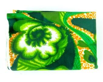 Batik Look Tiki Polynesian Print Yardage - Greens Orange Tiki Print Stretch Knit - Large Print Batik Look Floral